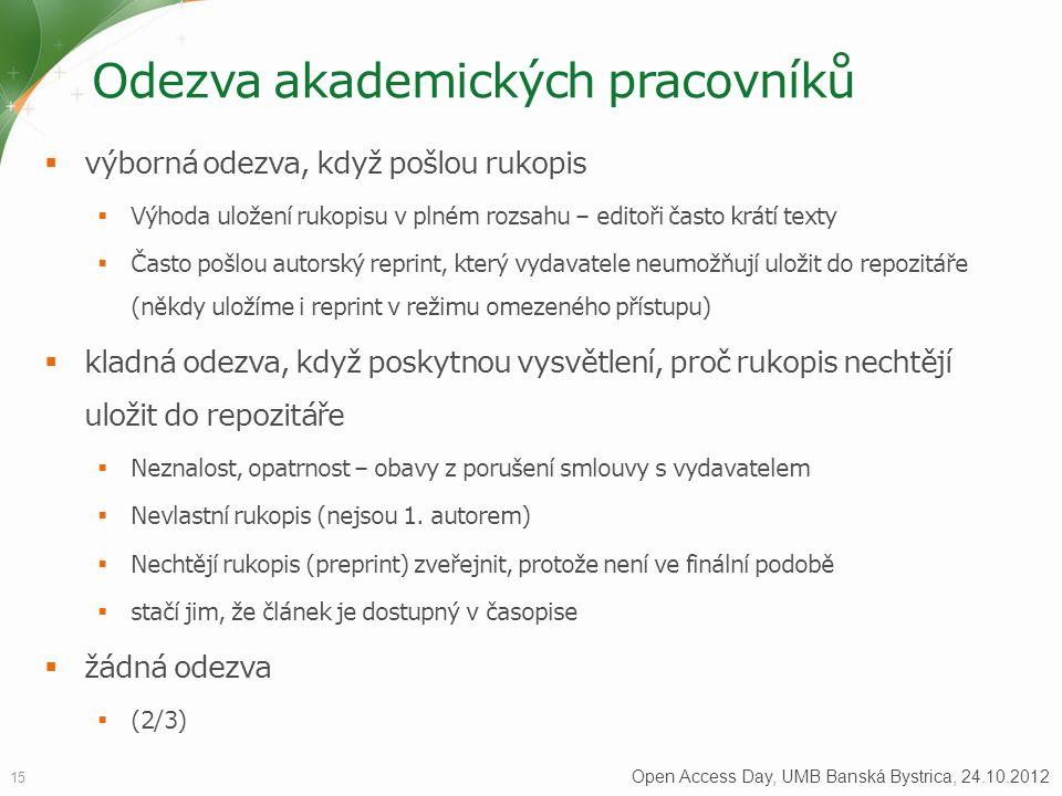 Odezva akademických pracovníků 15 Open Access Day, UMB Banská Bystrica, 24.10.2012  výborná odezva, když pošlou rukopis  Výhoda uložení rukopisu v plném rozsahu – editoři často krátí texty  Často pošlou autorský reprint, který vydavatele neumožňují uložit do repozitáře (někdy uložíme i reprint v režimu omezeného přístupu)  kladná odezva, když poskytnou vysvětlení, proč rukopis nechtějí uložit do repozitáře  Neznalost, opatrnost – obavy z porušení smlouvy s vydavatelem  Nevlastní rukopis (nejsou 1.