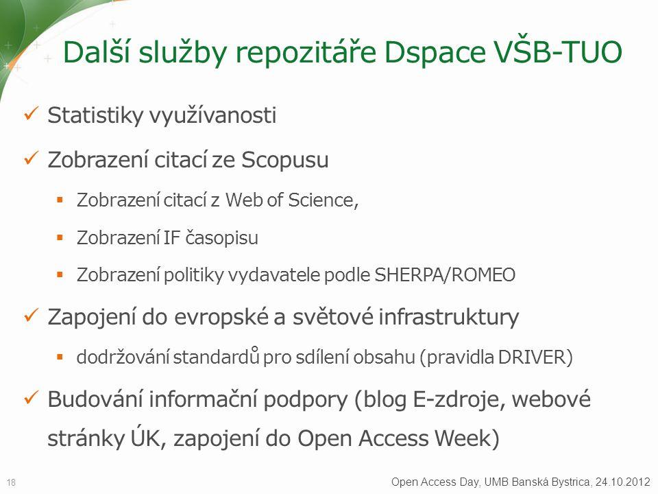 Další služby repozitáře Dspace VŠB-TUO 18 Open Access Day, UMB Banská Bystrica, 24.10.2012 Statistiky využívanosti Zobrazení citací ze Scopusu  Zobra