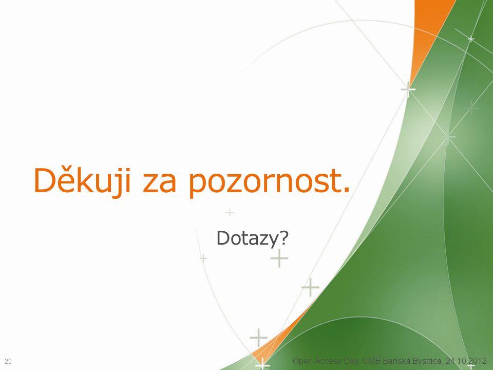 Děkuji za pozornost. Dotazy? 20 Open Access Day, UMB Banská Bystrica, 24.10.2012