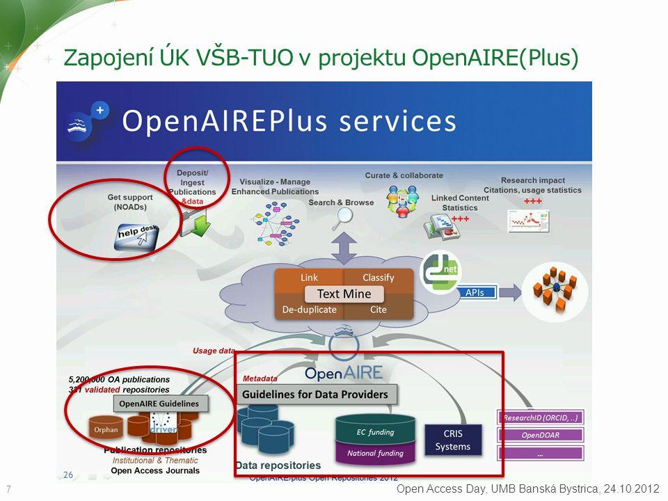 Zapojení ÚK VŠB-TUO v projektu OpenAIRE(Plus) 7 Open Access Day, UMB Banská Bystrica, 24.10.2012