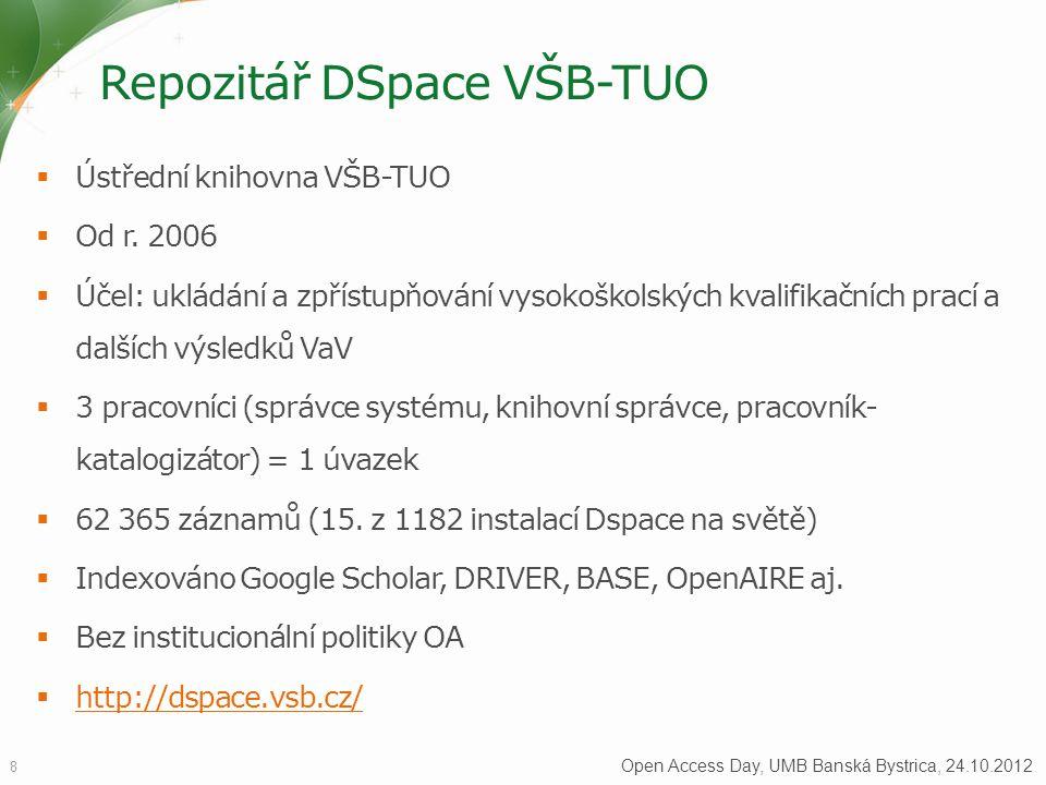 Repozitář DSpace VŠB-TUO  Ústřední knihovna VŠB-TUO  Od r.