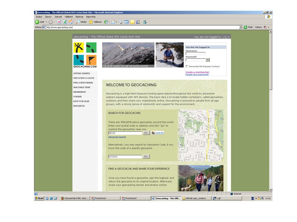 Internetový log keše Název a typ keše (krabičky ukryté někde venku) Obtížnost uložení a obtížnost terénu (1-5) GPS souřadnice a mapa (i satelitní snímek) Popis místa (historické, geologické a místopisné zajímavosti) Nápověda pro nalezení (hint) Logy předchozích nálezců (zážitky z nálezu atd.) Příklad: http://www.geocaching.com/seek/cache_details.
