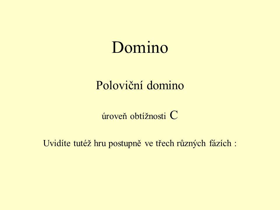 Domino Poloviční domino úroveň obtížnosti C Uvidíte tutéž hru postupně ve třech různých fázích :