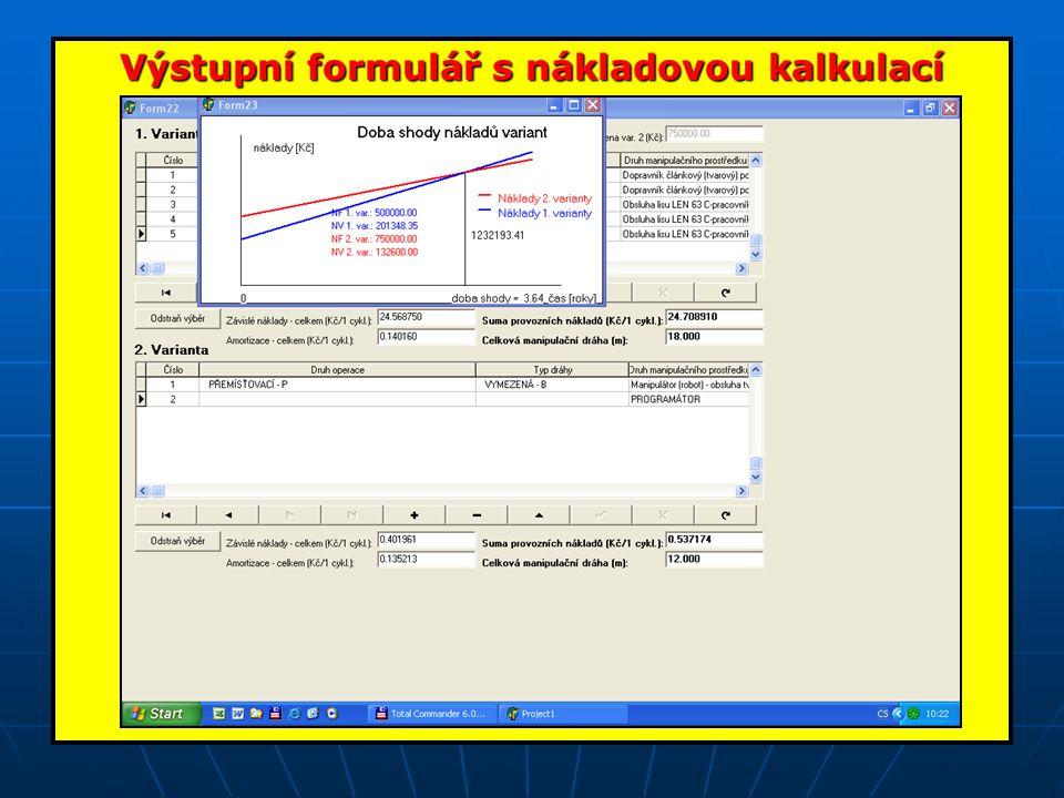 Výstupní formulář s nákladovou kalkulací
