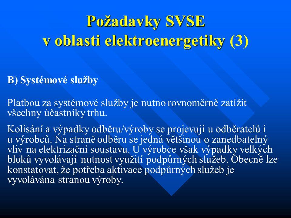 Požadavky SVSE v oblasti elektroenergetiky Požadavky SVSE v oblasti elektroenergetiky (3) B) Systémové služby Platbou za systémové služby je nutno rovnoměrně zatížit všechny účastníky trhu.