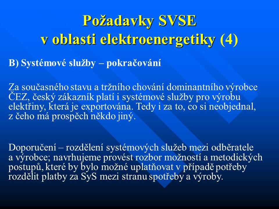 Požadavky SVSE v oblasti elektroenergetiky Požadavky SVSE v oblasti elektroenergetiky (4) B) Systémové služby – pokračování Za současného stavu a tržního chování dominantního výrobce ČEZ, český zákazník platí i systémové služby pro výrobu elektřiny, která je exportována.