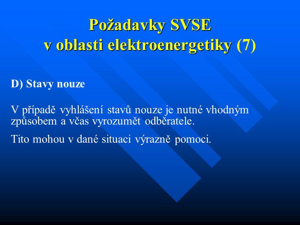 Požadavky SVSE v oblasti elektroenergetiky Požadavky SVSE v oblasti elektroenergetiky (7) D) Stavy nouze V případě vyhlášení stavů nouze je nutné vhodným způsobem a včas vyrozumět odběratele.