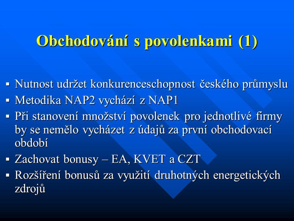 Obchodování s povolenkami (1)  Nutnost udržet konkurenceschopnost českého průmyslu  Metodika NAP2 vychází z NAP1  Při stanovení množství povolenek pro jednotlivé firmy by se nemělo vycházet z údajů za první obchodovací období  Zachovat bonusy – EA, KVET a CZT  Rozšíření bonusů za využití druhotných energetických zdrojů