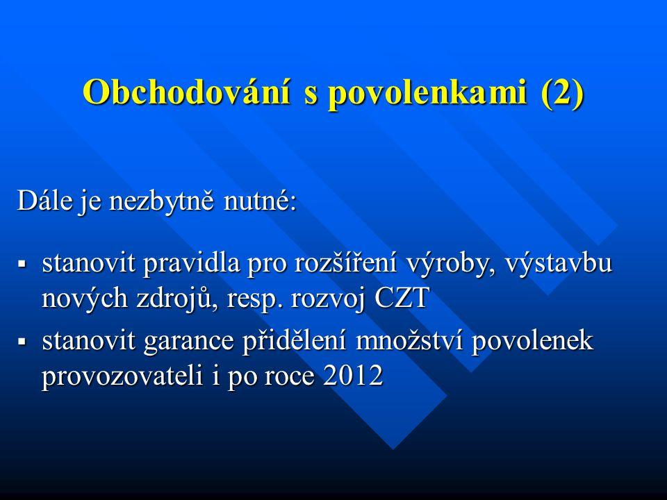 Obchodování s povolenkami (2) Dále je nezbytně nutné:  stanovit pravidla pro rozšíření výroby, výstavbu nových zdrojů, resp.