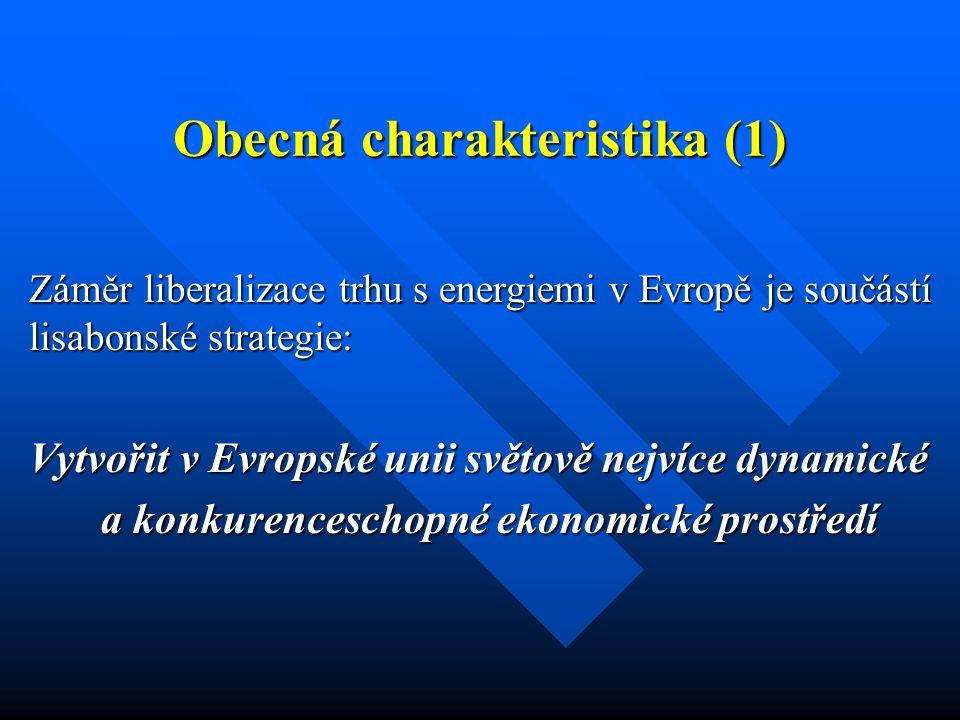Obecná charakteristika (1) Záměr liberalizace trhu s energiemi v Evropě je součástí lisabonské strategie: Vytvořit v Evropské unii světově nejvíce dynamické a konkurenceschopné ekonomické prostředí