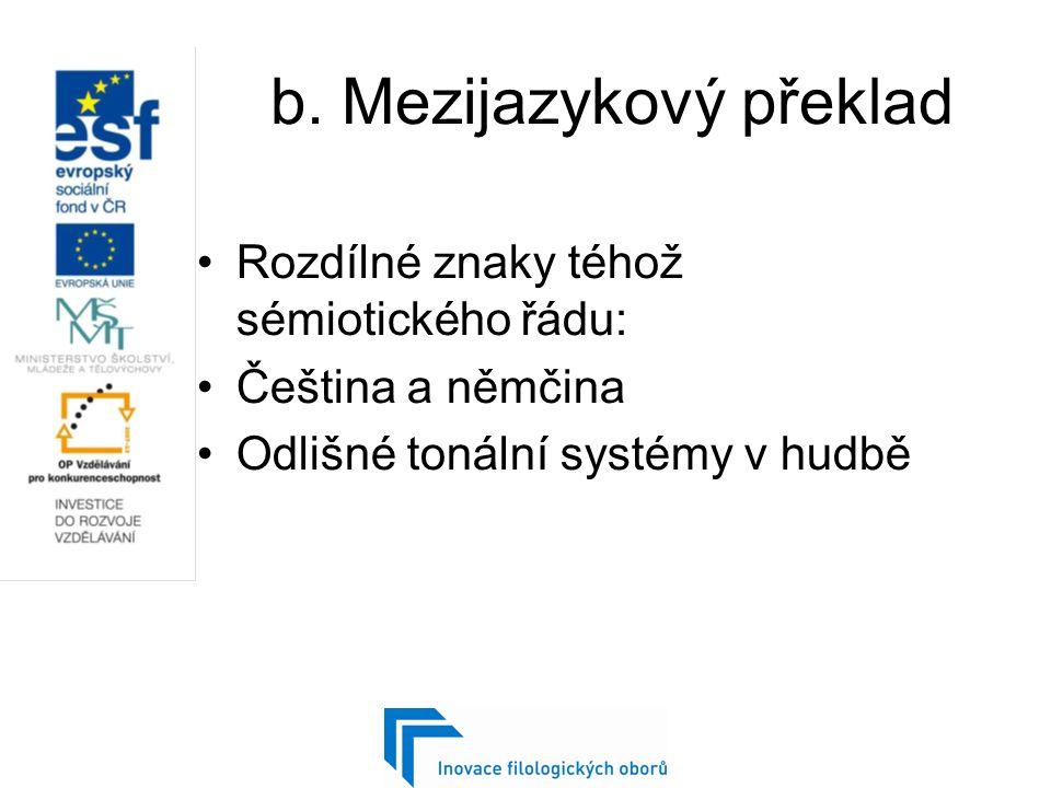 b. Mezijazykový překlad Rozdílné znaky téhož sémiotického řádu: Čeština a němčina Odlišné tonální systémy v hudbě