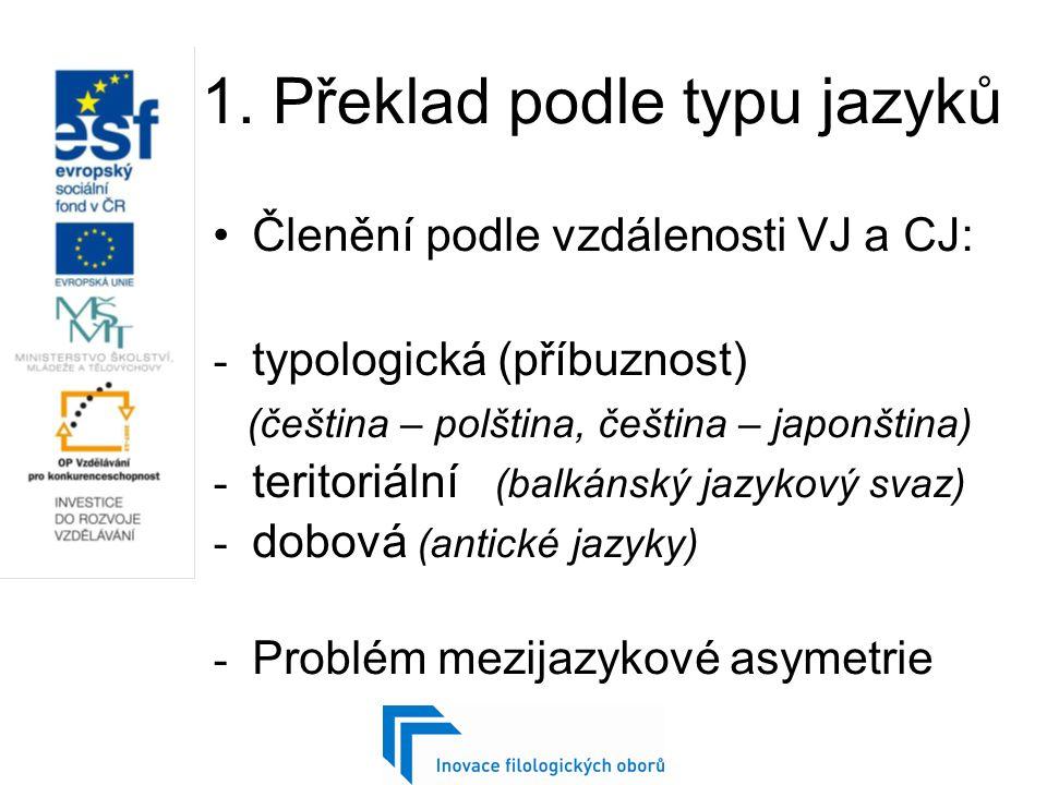 1. Překlad podle typu jazyků Členění podle vzdálenosti VJ a CJ: - typologická (příbuznost) (čeština – polština, čeština – japonština) - teritoriální (