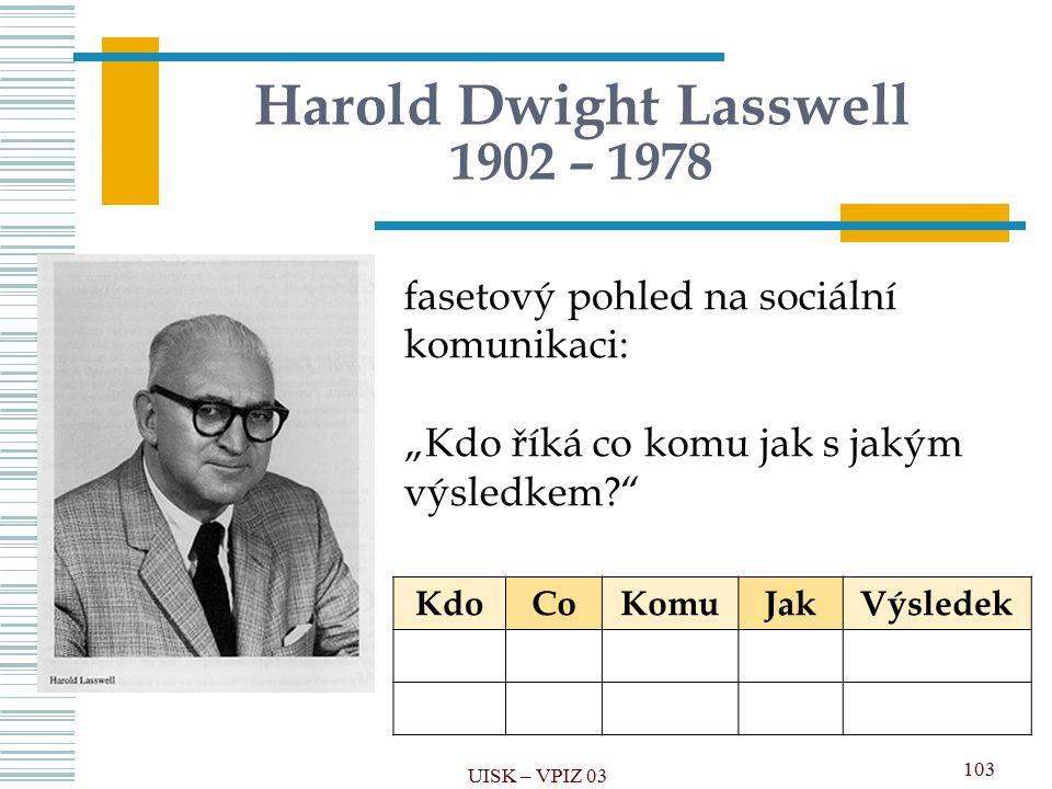 """103 Harold Dwight Lasswell 1902 – 1978 fasetový pohled na sociální komunikaci: """"Kdo říká co komu jak s jakým výsledkem?"""" KdoCoKomuJakVýsledek UISK – V"""