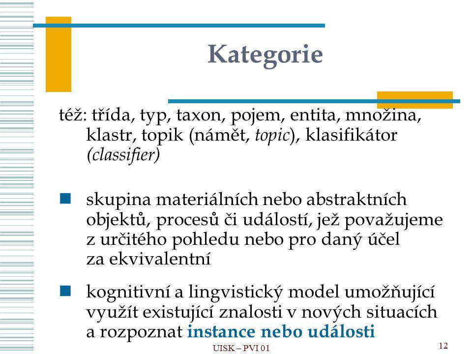 12 Kategorie též: třída, typ, taxon, pojem, entita, množina, klastr, topik (námět, topic ), klasifikátor (classifier) skupina materiálních nebo abstra