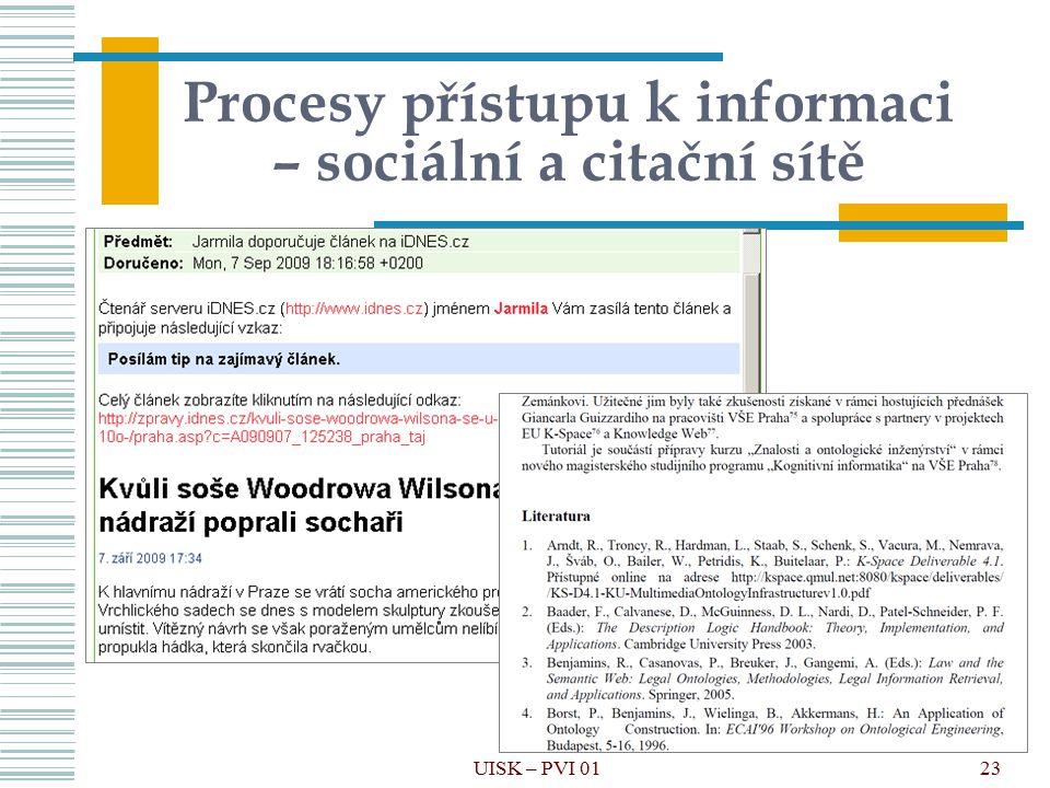 23 Procesy přístupu k informaci – sociální a citační sítě UISK – PVI 01