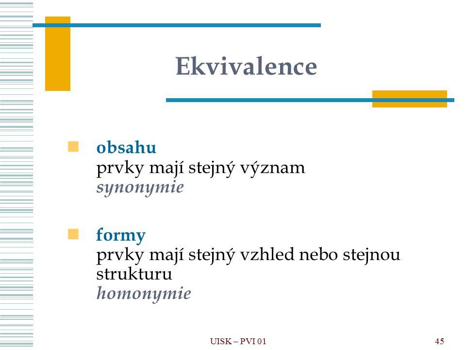 Ekvivalence obsahu prvky mají stejný význam synonymie formy prvky mají stejný vzhled nebo stejnou strukturu homonymie 45UISK – PVI 01