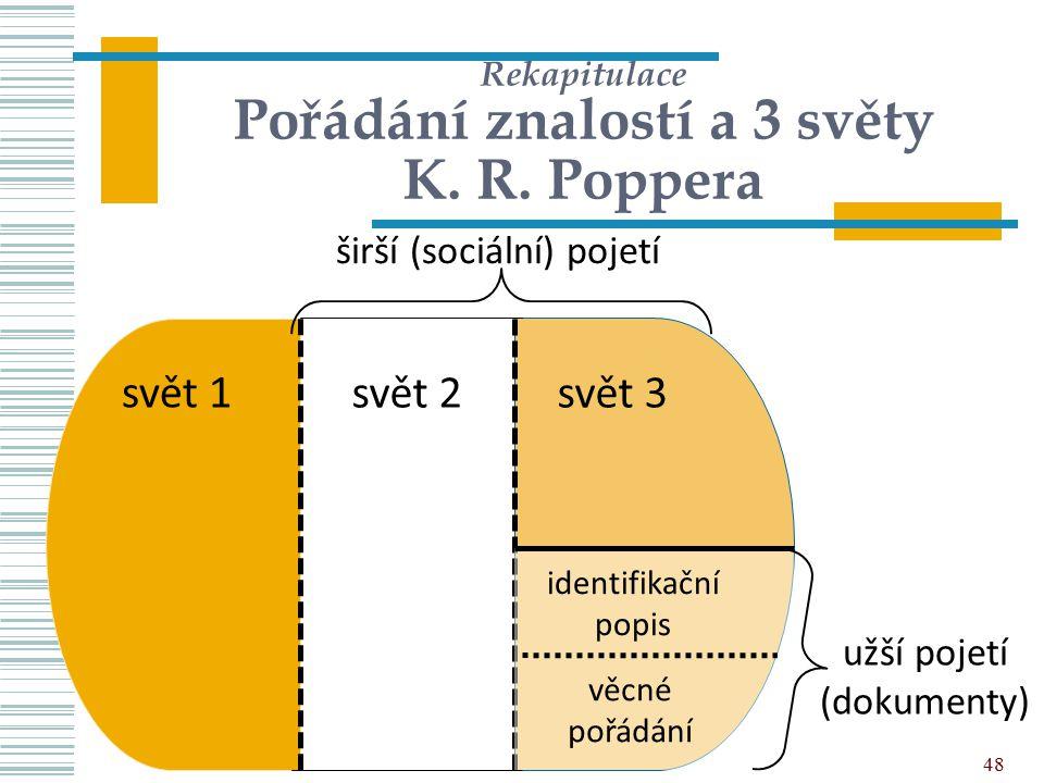 48 Rekapitulace Pořádání znalostí a 3 světy K. R. Poppera svět 2svět 3 širší (sociální) pojetí svět 1 užší pojetí (dokumenty) identifikační popis věcn