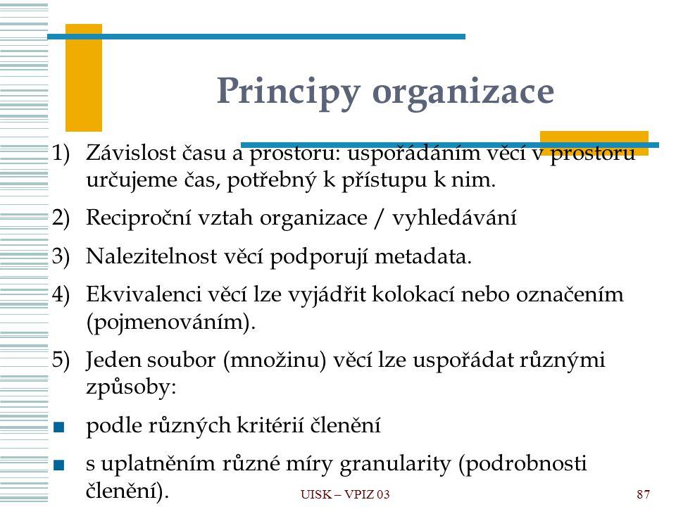 Principy organizace 1)Závislost času a prostoru: uspořádáním věcí v prostoru určujeme čas, potřebný k přístupu k nim. 2)Reciproční vztah organizace /