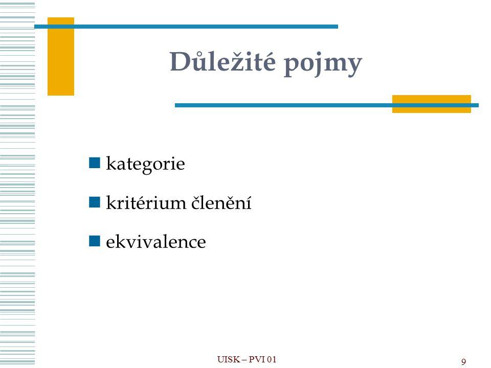 9 Důležité pojmy kategorie kritérium členění ekvivalence UISK – PVI 01