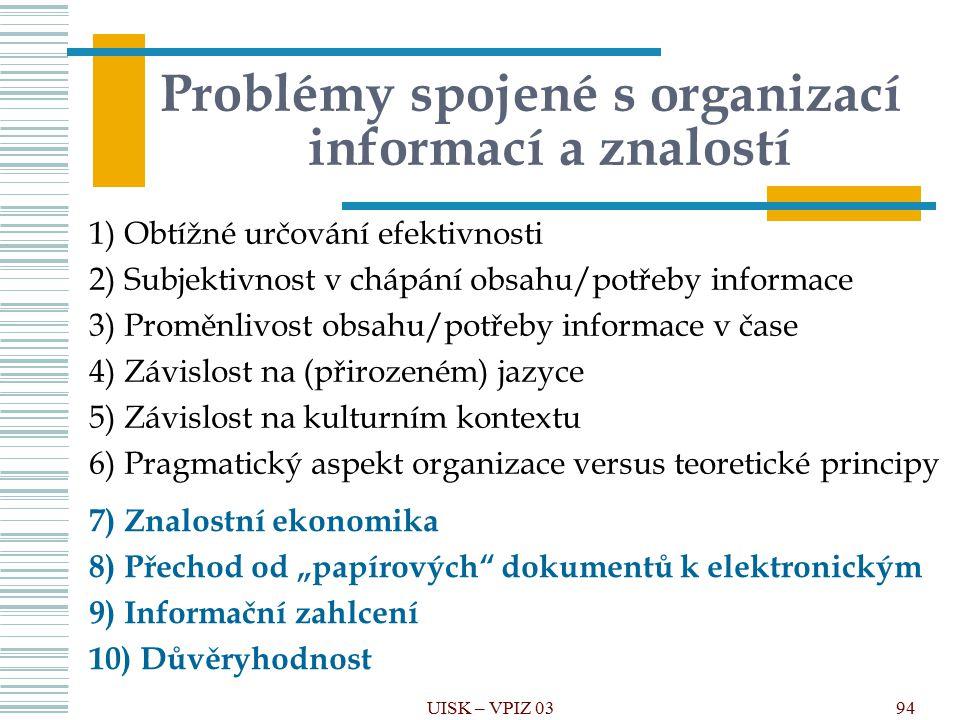 94 Problémy spojené s organizací informací a znalostí 1) Obtížné určování efektivnosti 2) Subjektivnost v chápání obsahu/potřeby informace 3) Proměnli