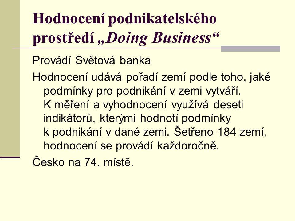 """Hodnocení podnikatelského prostředí """"Doing Business"""" Provádí Světová banka Hodnocení udává pořadí zemí podle toho, jaké podmínky pro podnikání v zemi"""
