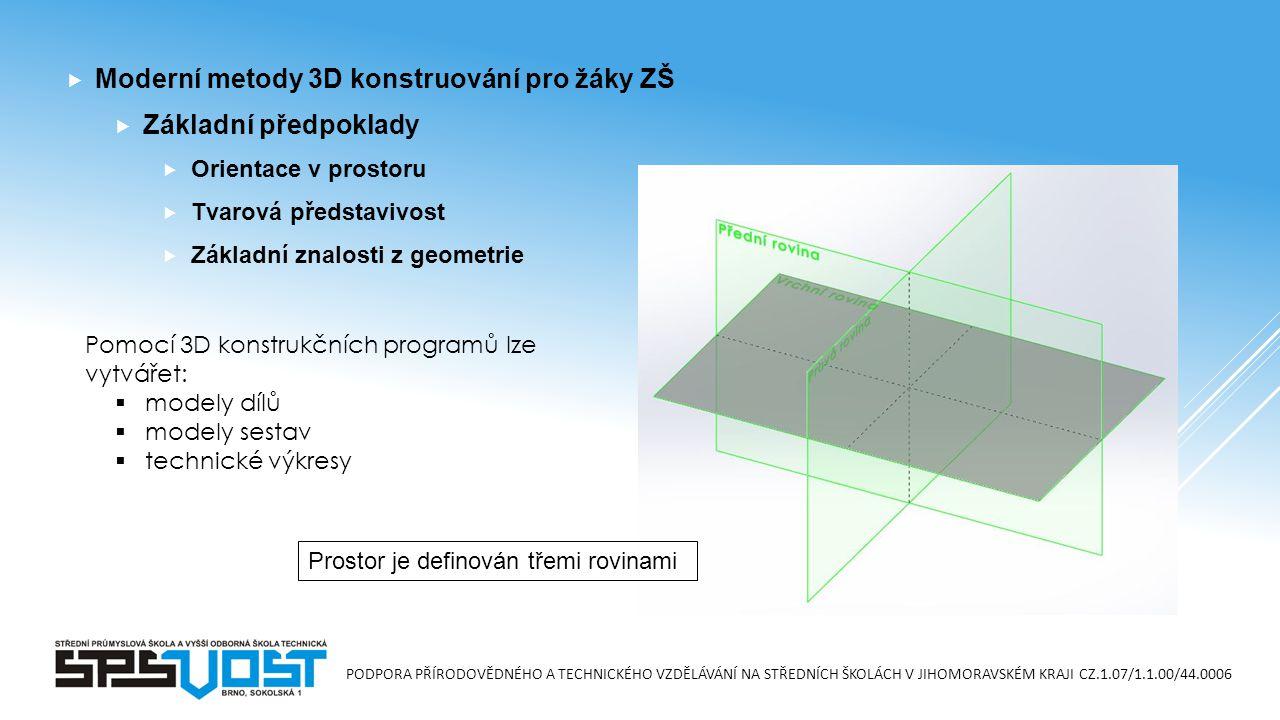 PODPORA PŘÍRODOVĚDNÉHO A TECHNICKÉHO VZDĚLÁVÁNÍ NA STŘEDNÍCH ŠKOLÁCH V JIHOMORAVSKÉM KRAJI CZ.1.07/1.1.00/44.0006  Moderní metody 3D konstruování pro žáky ZŠ  Základní předpoklady  Orientace v prostoru  Tvarová představivost  Základní znalosti z geometrie Prostor je definován třemi rovinami Pomocí 3D konstrukčních programů lze vytvářet:  modely dílů  modely sestav  technické výkresy
