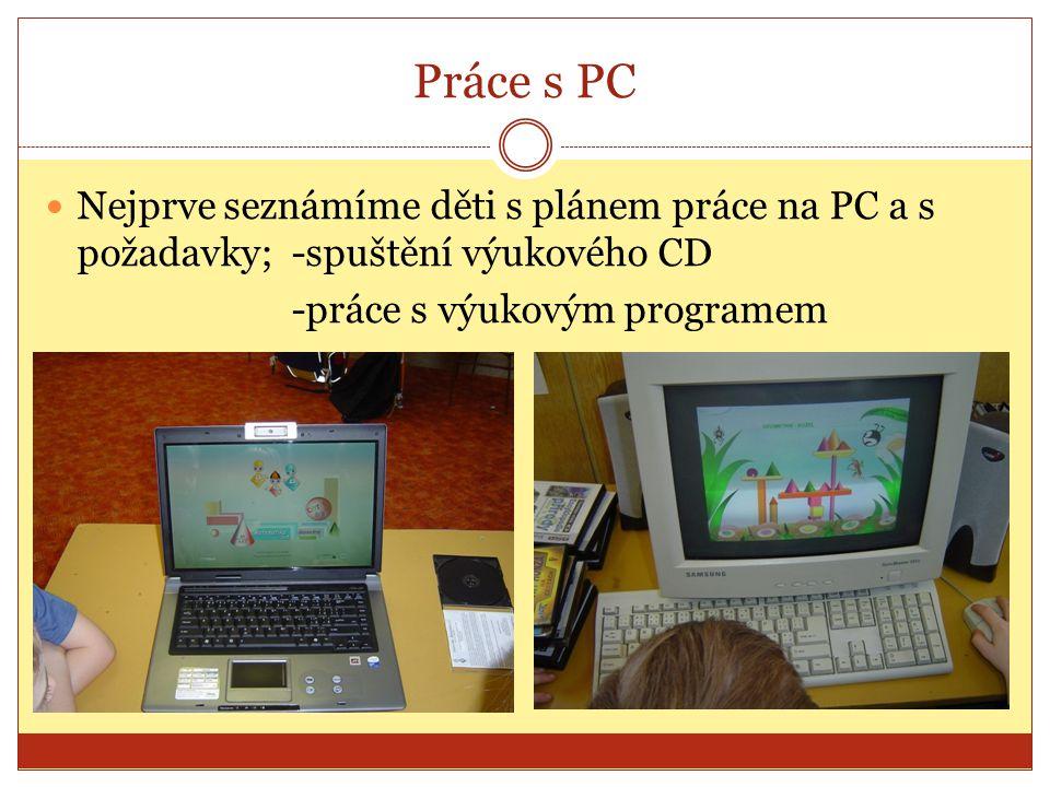 Práce s PC Nejprve seznámíme děti s plánem práce na PC a s požadavky; -spuštění výukového CD -práce s výukovým programem
