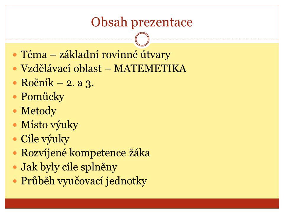 Obsah prezentace Téma – základní rovinné útvary Vzdělávací oblast – MATEMETIKA Ročník – 2.