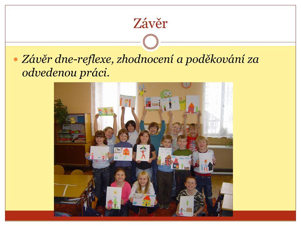 Závěr Závěr dne-reflexe, zhodnocení a poděkování za odvedenou práci.