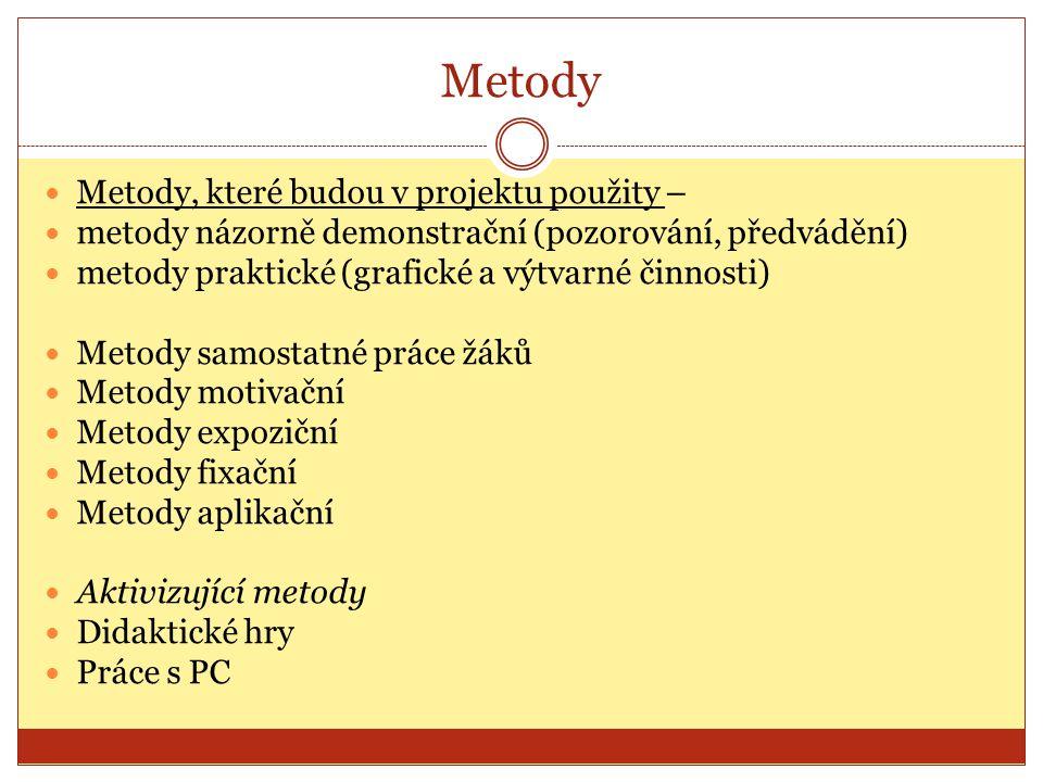 Metody Metody, které budou v projektu použity – metody názorně demonstrační (pozorování, předvádění) metody praktické (grafické a výtvarné činnosti) Metody samostatné práce žáků Metody motivační Metody expoziční Metody fixační Metody aplikační Aktivizující metody Didaktické hry Práce s PC