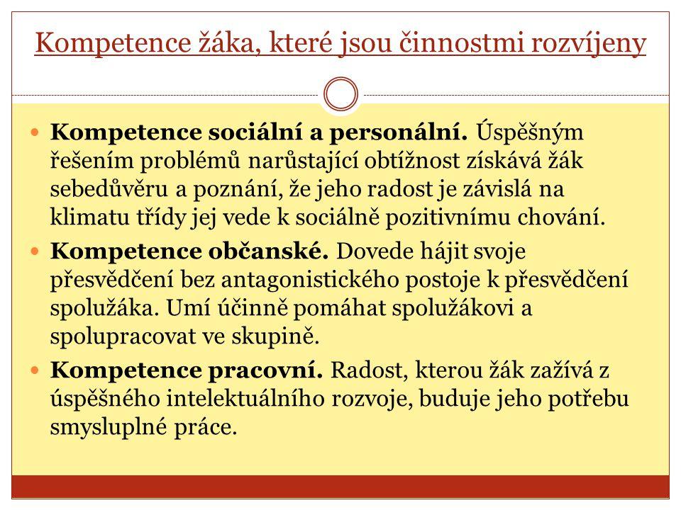 Kompetence žáka, které jsou činnostmi rozvíjeny Kompetence sociální a personální.