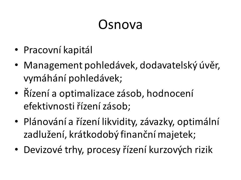 Osnova Pracovní kapitál Management pohledávek, dodavatelský úvěr, vymáhání pohledávek; Řízení a optimalizace zásob, hodnocení efektivnosti řízení záso