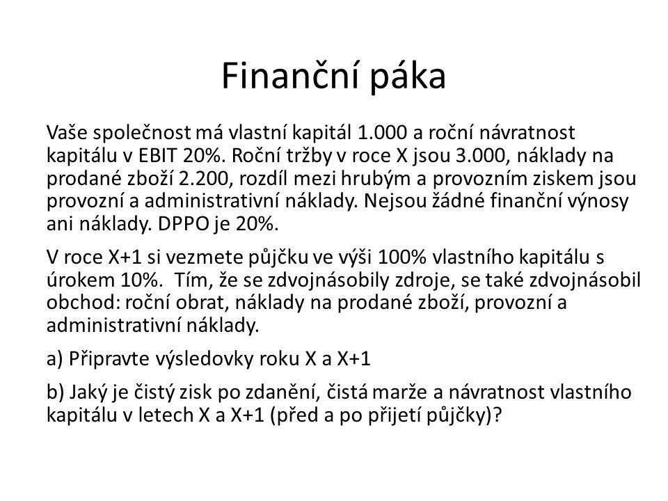 Finanční páka Vaše společnost má vlastní kapitál 1.000 a roční návratnost kapitálu v EBIT 20%. Roční tržby v roce X jsou 3.000, náklady na prodané zbo