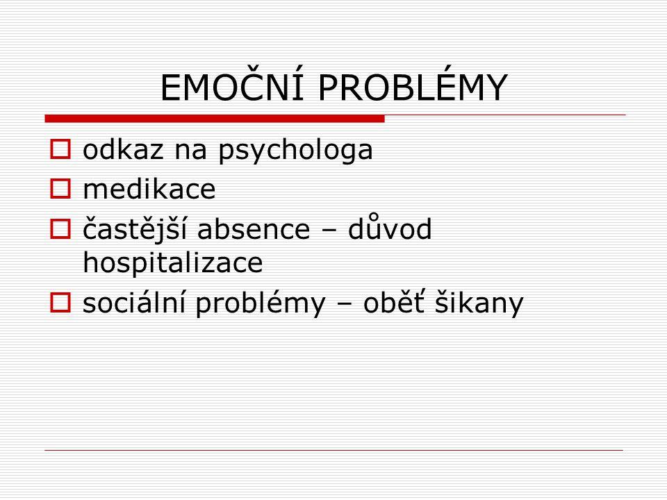 EMOČNÍ PROBLÉMY  odkaz na psychologa  medikace  častější absence – důvod hospitalizace  sociální problémy – oběť šikany