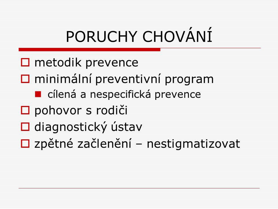 PORUCHY CHOVÁNÍ  metodik prevence  minimální preventivní program cílená a nespecifická prevence  pohovor s rodiči  diagnostický ústav  zpětné začlenění – nestigmatizovat