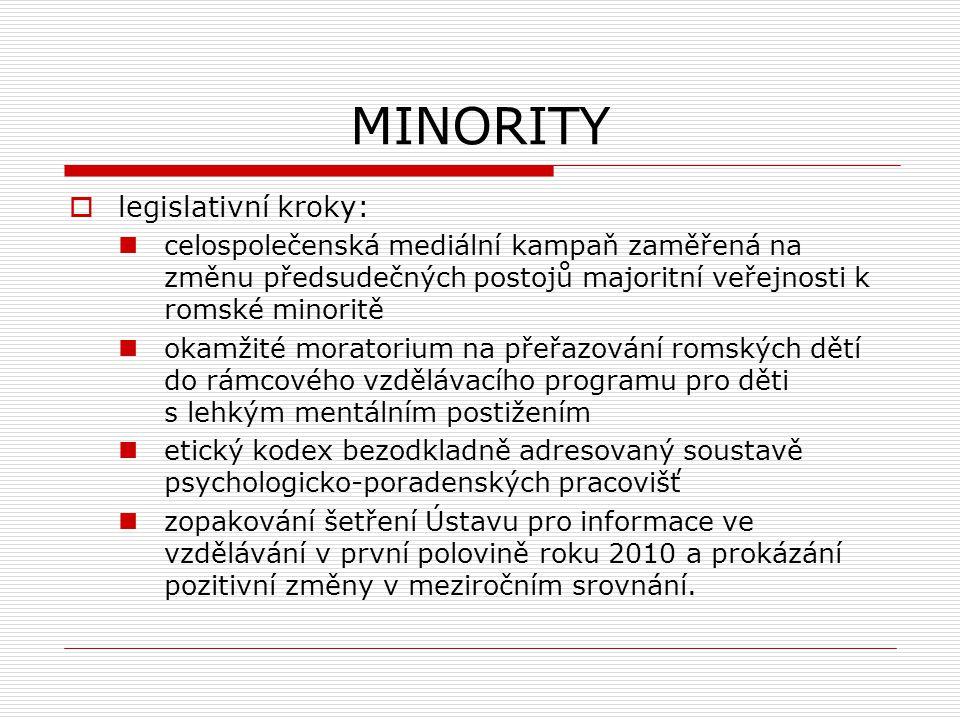 MINORITY  legislativní kroky: celospolečenská mediální kampaň zaměřená na změnu předsudečných postojů majoritní veřejnosti k romské minoritě okamžité moratorium na přeřazování romských dětí do rámcového vzdělávacího programu pro děti s lehkým mentálním postižením etický kodex bezodkladně adresovaný soustavě psychologicko-poradenských pracovišť zopakování šetření Ústavu pro informace ve vzdělávání v první polovině roku 2010 a prokázání pozitivní změny v meziročním srovnání.