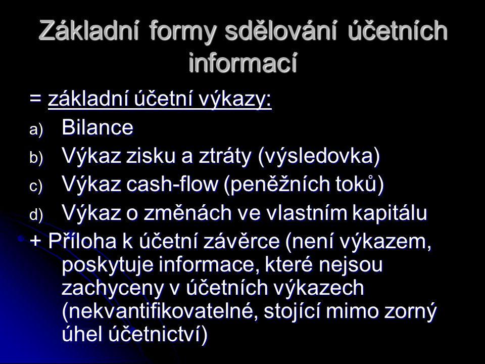Základní formy sdělování účetních informací = základní účetní výkazy: a) Bilance b) Výkaz zisku a ztráty (výsledovka) c) Výkaz cash-flow (peněžních to