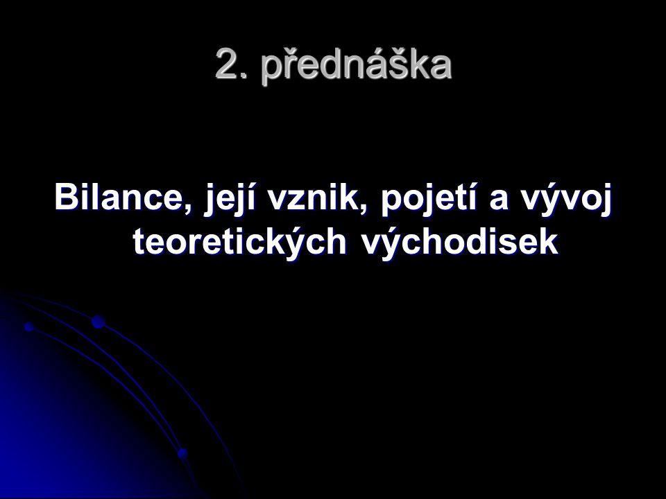 2. přednáška Bilance, její vznik, pojetí a vývoj teoretických východisek
