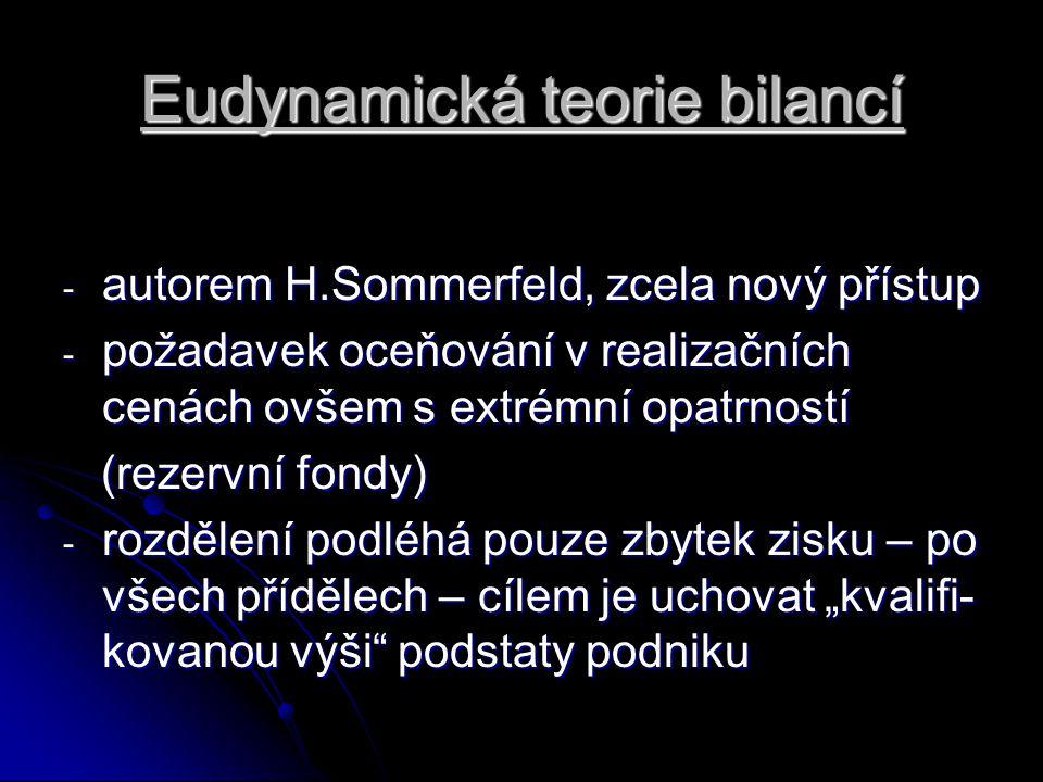 Eudynamická teorie bilancí - autorem H.Sommerfeld, zcela nový přístup - požadavek oceňování v realizačních cenách ovšem s extrémní opatrností (rezervn