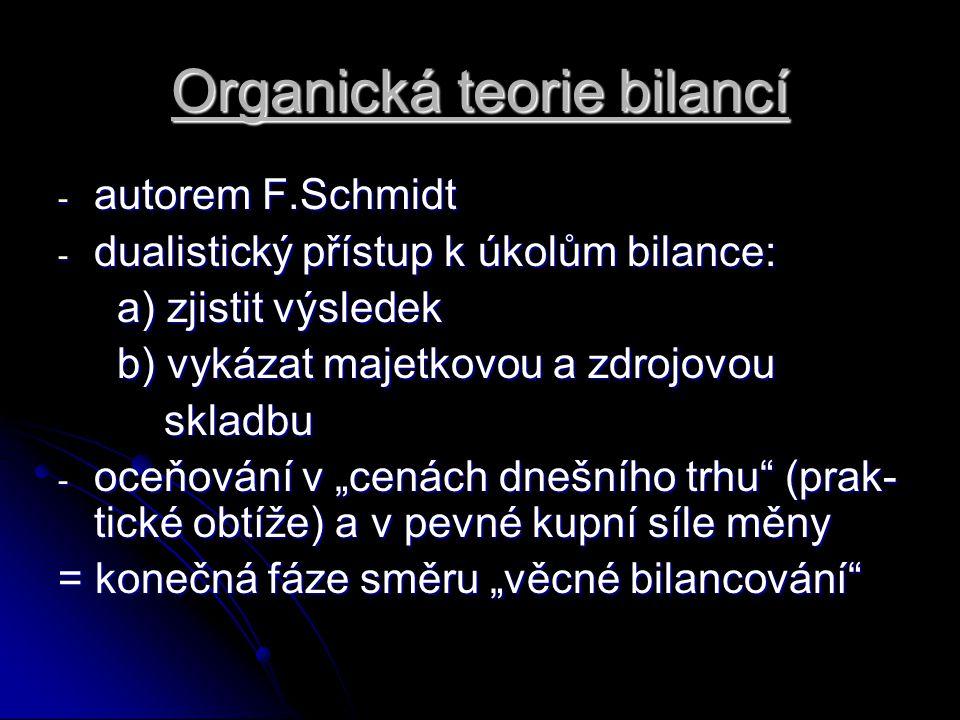 Organická teorie bilancí - autorem F.Schmidt - dualistický přístup k úkolům bilance: a) zjistit výsledek a) zjistit výsledek b) vykázat majetkovou a z