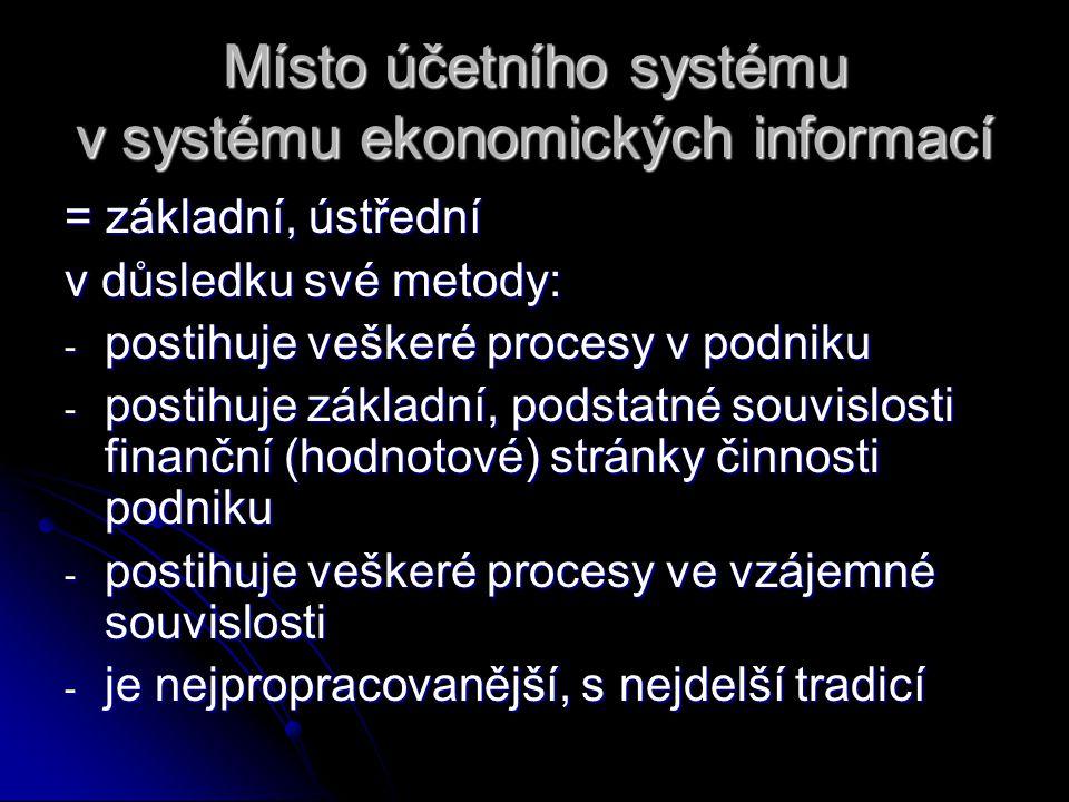 Místo účetního systému v systému ekonomických informací = základní, ústřední v důsledku své metody: - postihuje veškeré procesy v podniku - postihuje