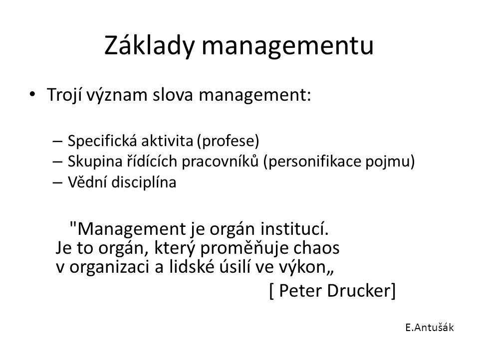 Základy managementu Trojí význam slova management: – Specifická aktivita (profese) – Skupina řídících pracovníků (personifikace pojmu) – Vědní discipl