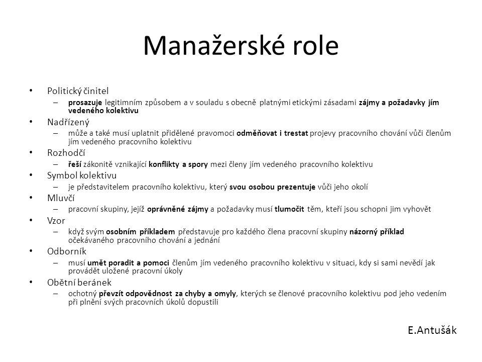 Manažerské role Politický činitel – prosazuje legitimním způsobem a v souladu s obecně platnými etickými zásadami zájmy a požadavky jím vedeného kolek