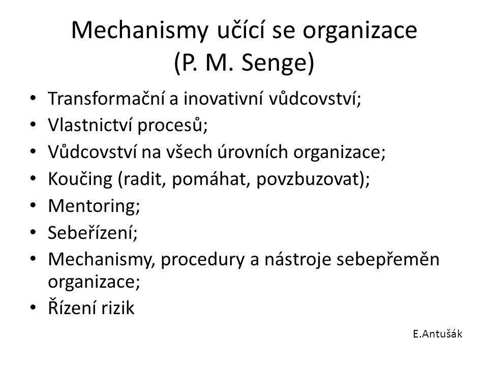 Mechanismy učící se organizace (P. M. Senge) Transformační a inovativní vůdcovství; Vlastnictví procesů; Vůdcovství na všech úrovních organizace; Kouč