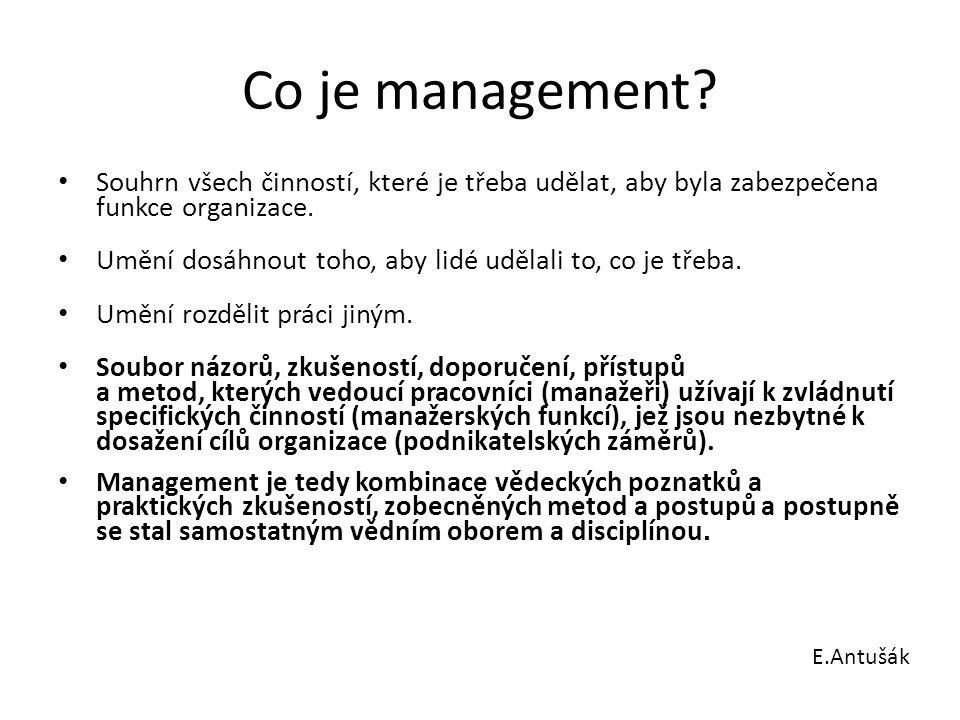 Limitující mantinely pro management počátku 21.