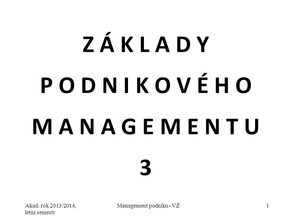 Akad. rok 2013/2014, letní semestr Management podniku - VŽ1 Z Á K L A D Y P O D N I K O V É H O M A N A G E M E N T U 3