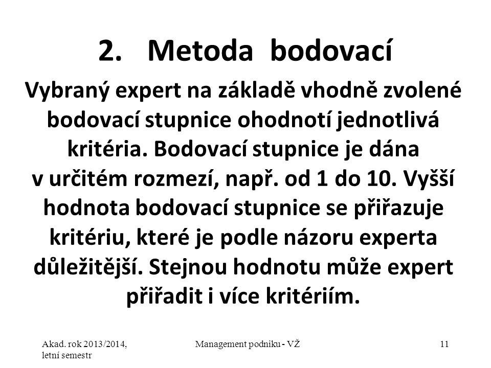 Akad. rok 2013/2014, letní semestr Management podniku - VŽ11 2. Metoda bodovací Vybraný expert na základě vhodně zvolené bodovací stupnice ohodnotí je