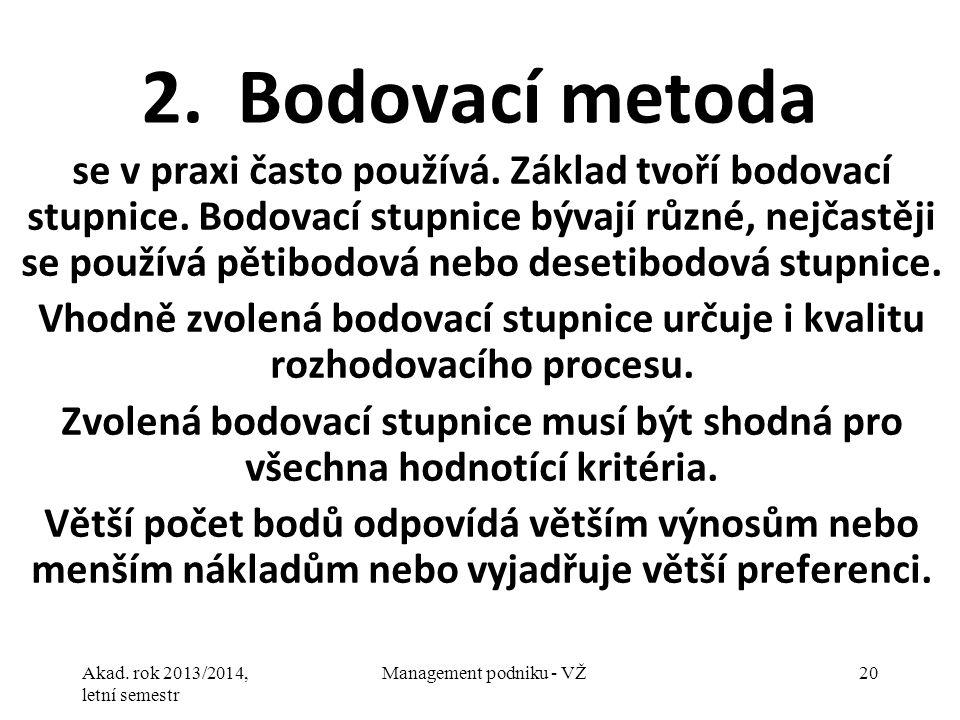 Akad. rok 2013/2014, letní semestr Management podniku - VŽ20 2.Bodovací metoda se v praxi často používá. Základ tvoří bodovací stupnice. Bodovací stup
