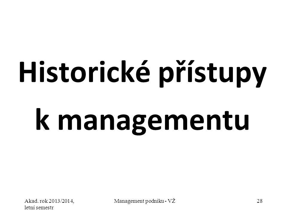 Akad. rok 2013/2014, letní semestr Management podniku - VŽ28 Historické přístupy k managementu