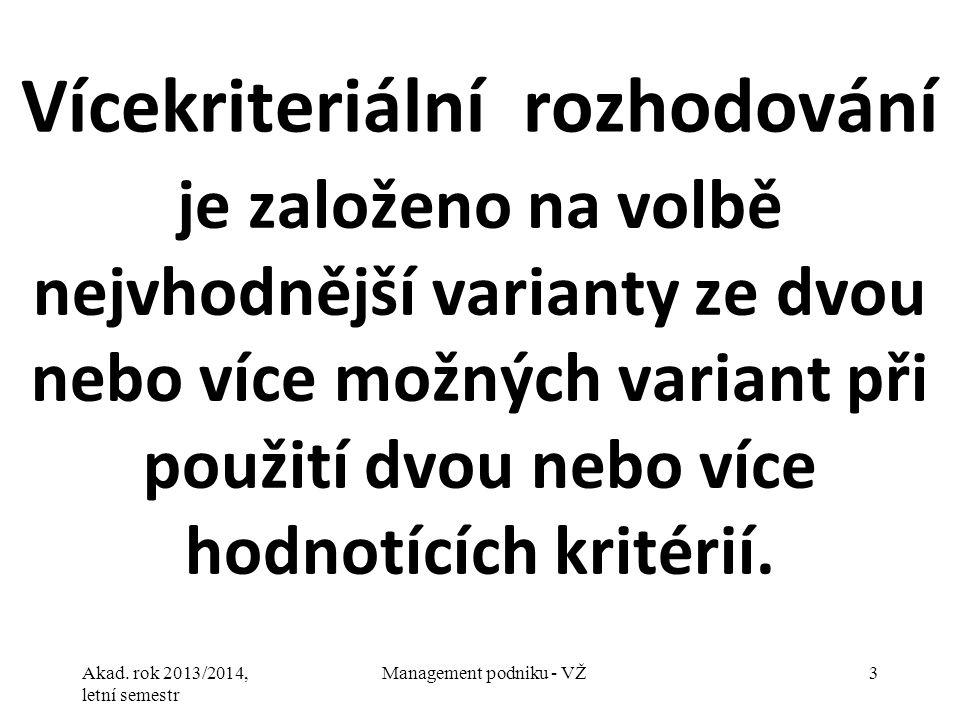 Akad. rok 2013/2014, letní semestr Management podniku - VŽ3 Vícekriteriální rozhodování je založeno na volbě nejvhodnější varianty ze dvou nebo více m